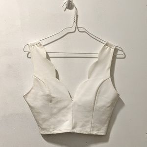 White Scalloped Crop Top - Foreign Exchange